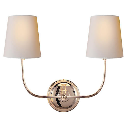 Vendome double sconce polished nickel