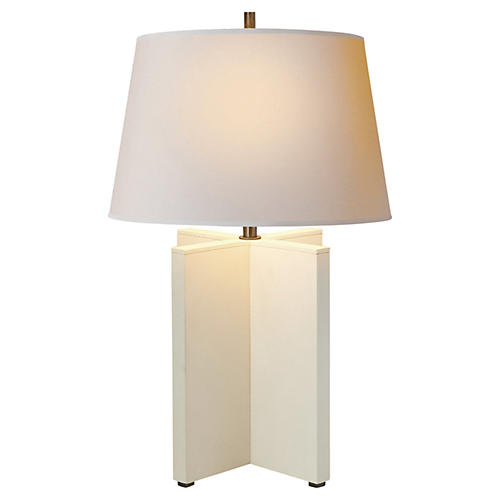 Cameron Leather Table Lamp, White