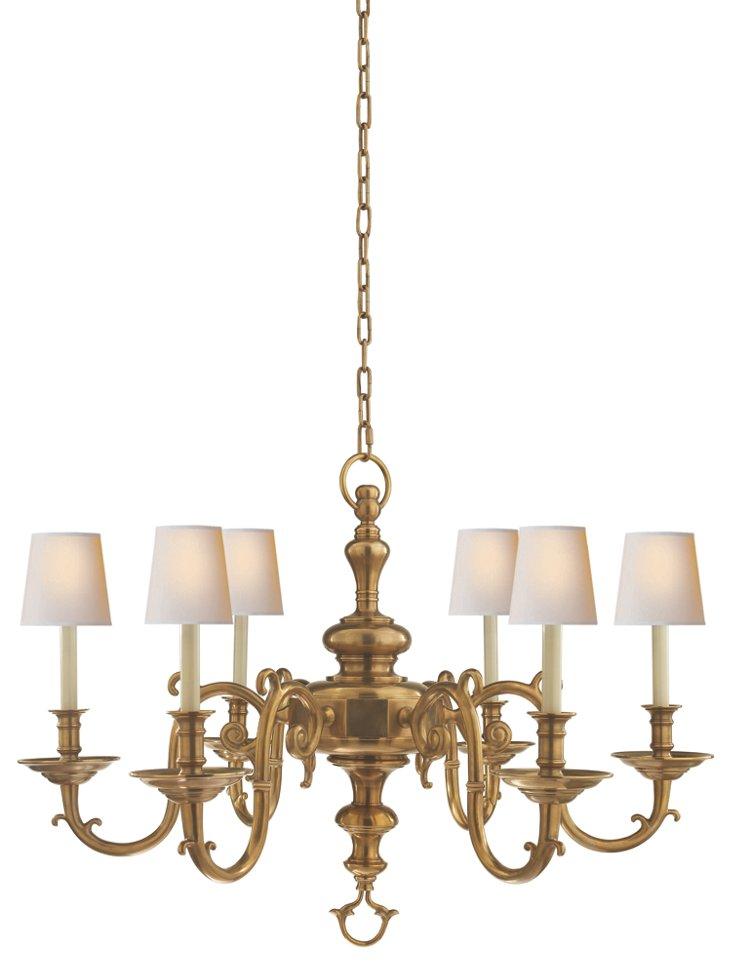 Georgian 6-Light Chandelier, Brass