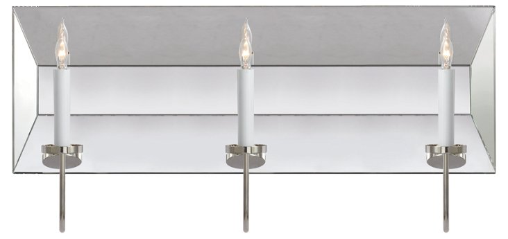 Cotswald 3-Light Mirrored Sconce, Nickel