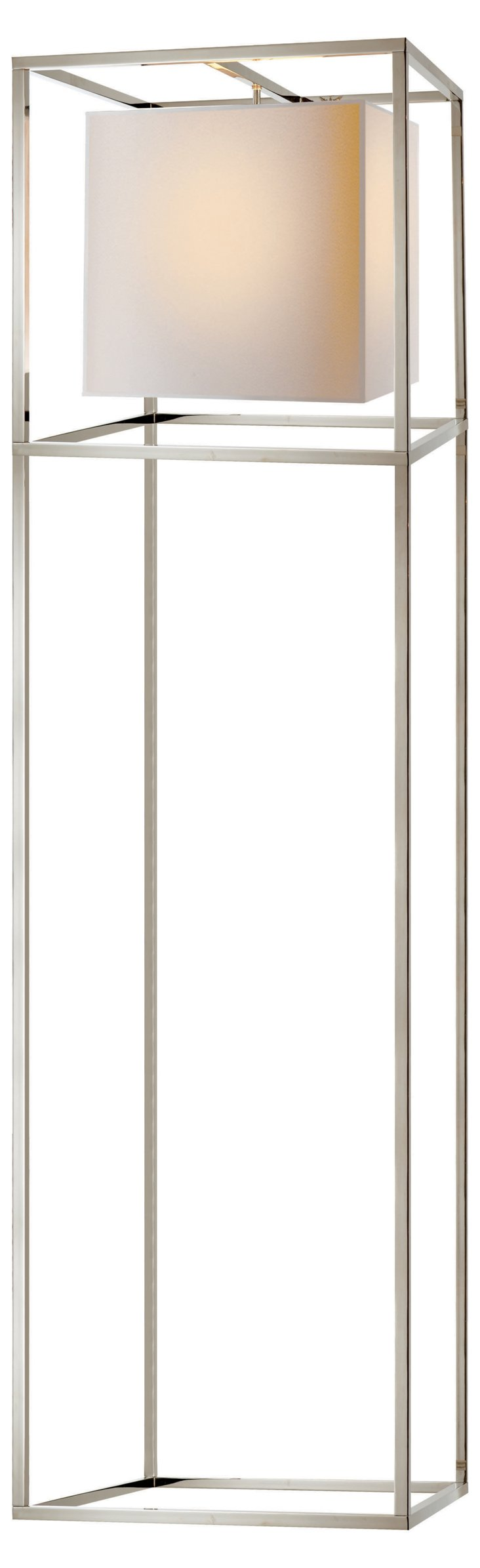 Caged Floor Lamp, Polished Nickel