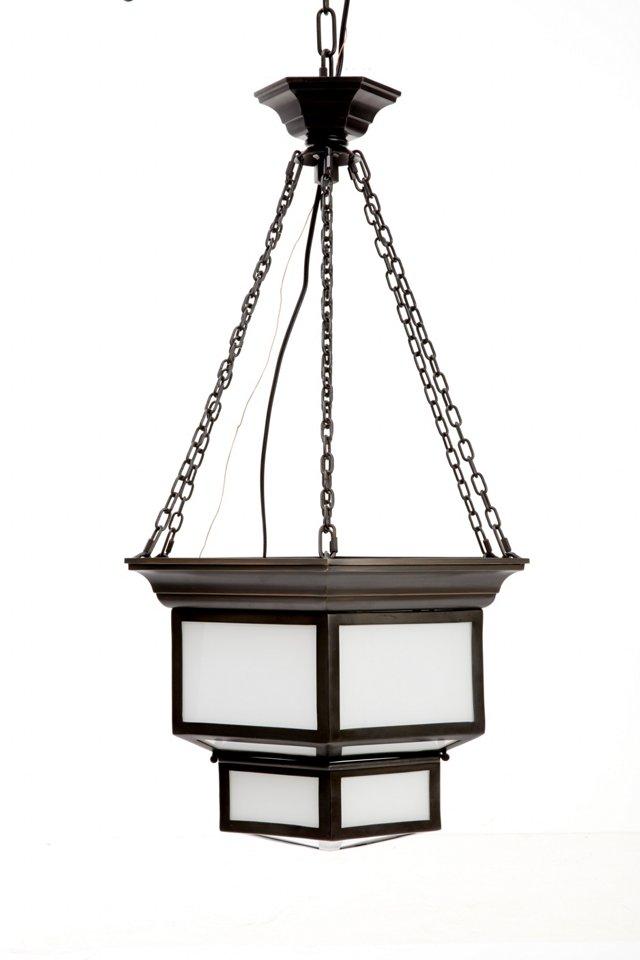 Large Cornice Hanging Lantern, Bronze