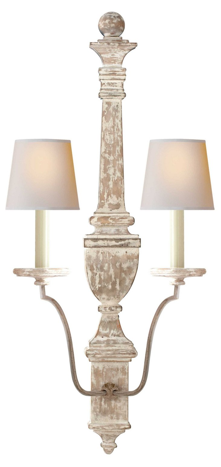 Gustavian 2-Light Wall Sconce, White