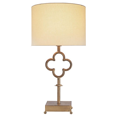 Quatrefoil Table Lamp, Gilded Iron