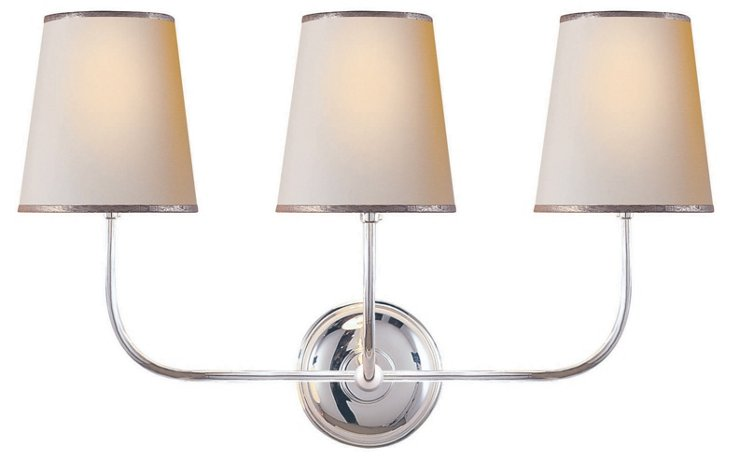 Vendome 3-Light Wall Sconce, Silver