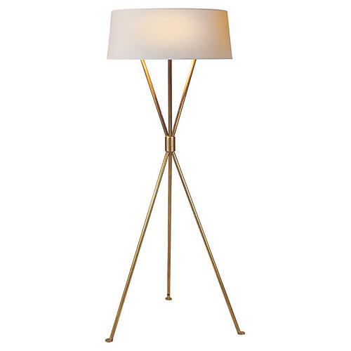 Thornton Floor Lamp, Antiqued Brass