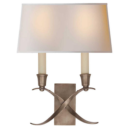 Cross Bouillotte 2-Light Sconce, Small