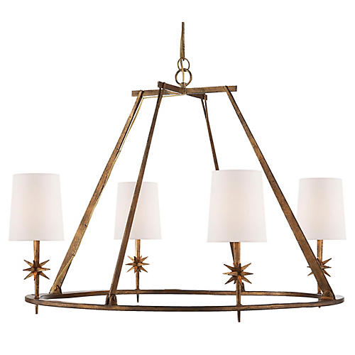 Etoile 4-Light Chandelier, Gilded Iron