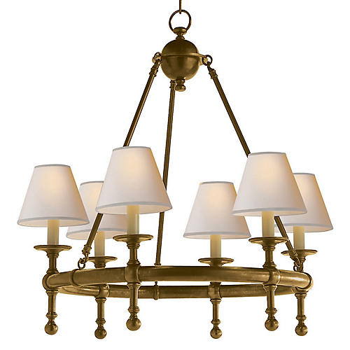 Castle 6-Light Chandelier, Brass