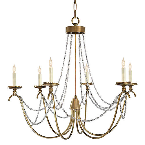 Medium Marigot 6-Light Chandelier, Brass
