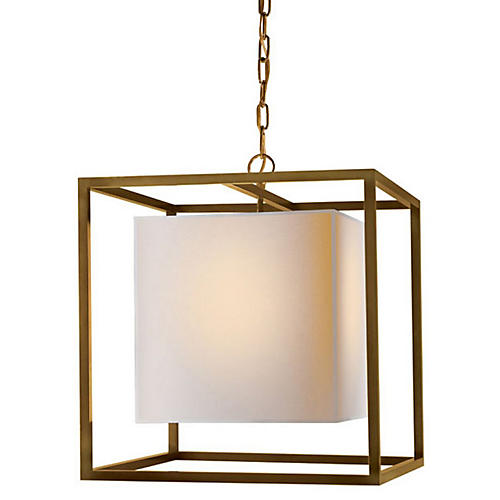 Caged Lantern, Antiqued Brass
