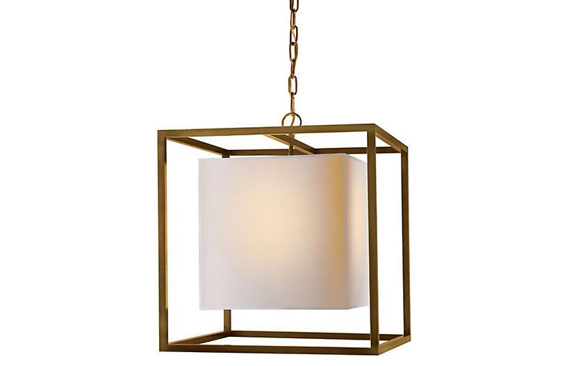 Caged Lantern, Antiqued Brass