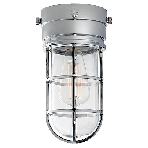 Marine Flush Mount Light, Chrome