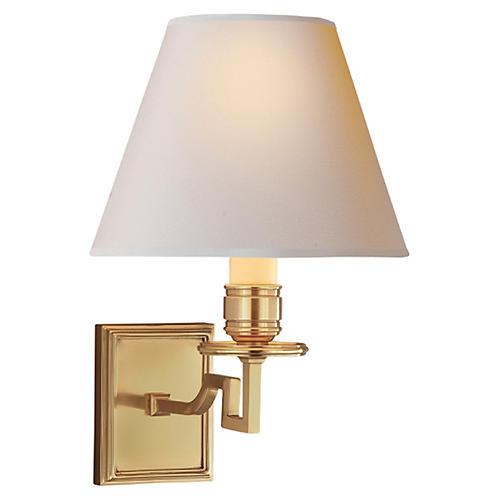 Dean Single Arm Sconce, Natural Brass