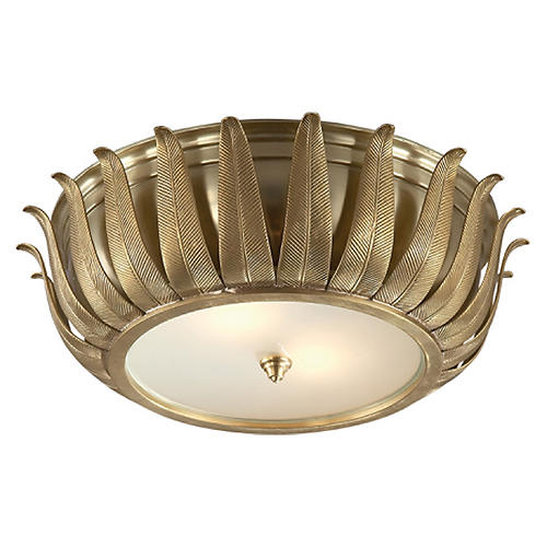 Audrey Flush Mount, Natural Brass
