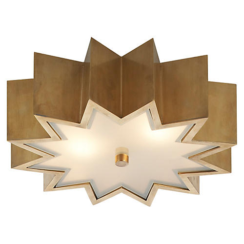 Odette Flush Mount, Natural Brass