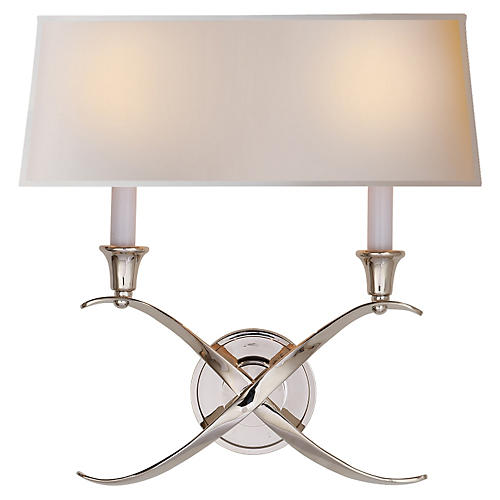 Cross Bouillotte Sconce, Nickel