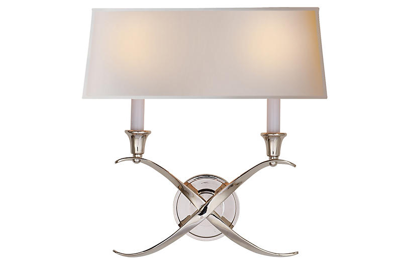 Cross Bouillotte Sconce - Nickel - Visual Comfort & Co.