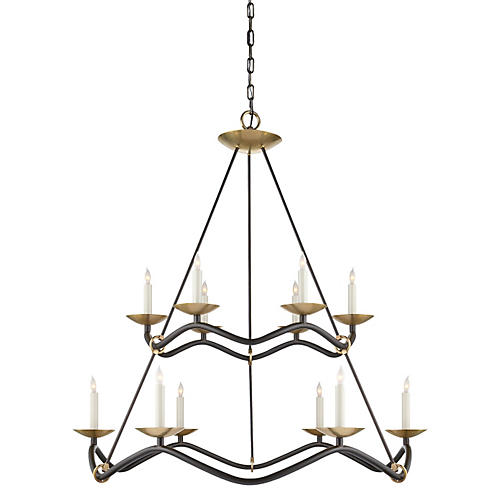 Choros Two Tier Chandelier, Aged Iron