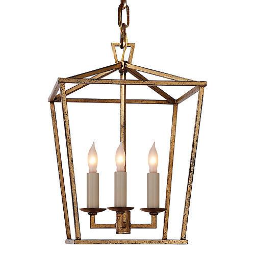Darlana Mini Lantern, Gilded Iron