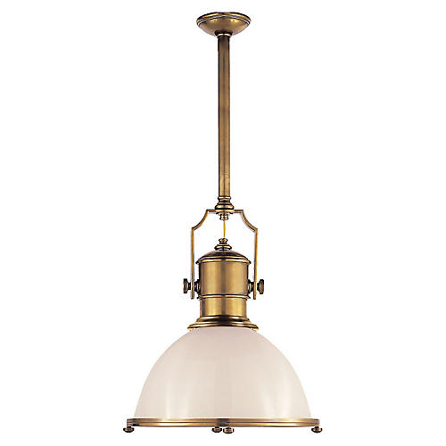 Country Industrial Pendant, White