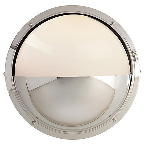 Pelham Moon Sconce, Polished Nickel