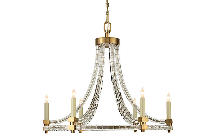 Crystal Cube Chandelier, Antiqued Brass