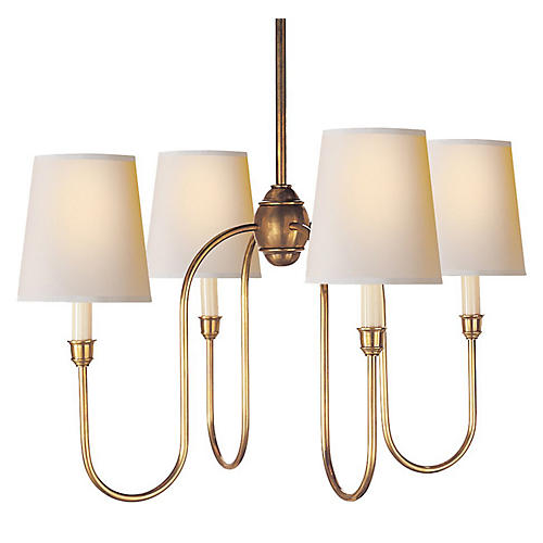 Vendome Chandelier, Antiqued Brass