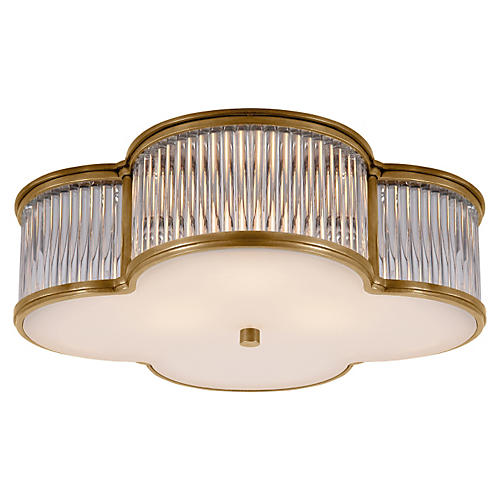 "Basil 17"" Flush Mount, Brass"