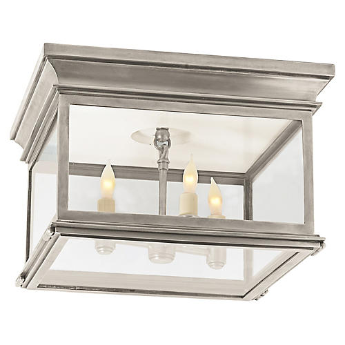 Club Flush Mount, Antiqued Nickel