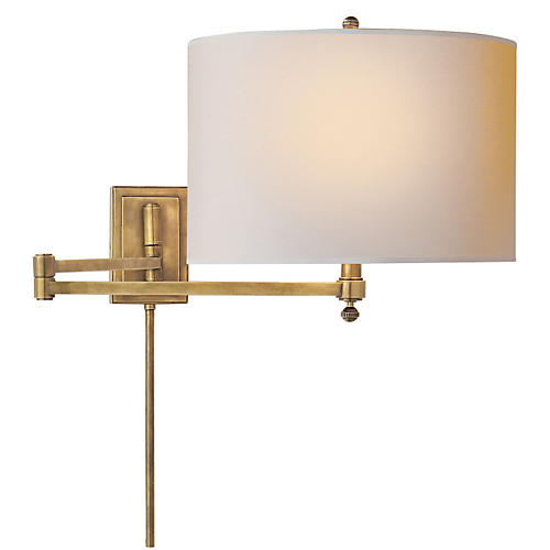 Hudson Swing-Arm, Antiqued Brass