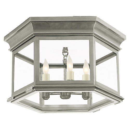 Club Large Flush Mount, Antiqued Nickel