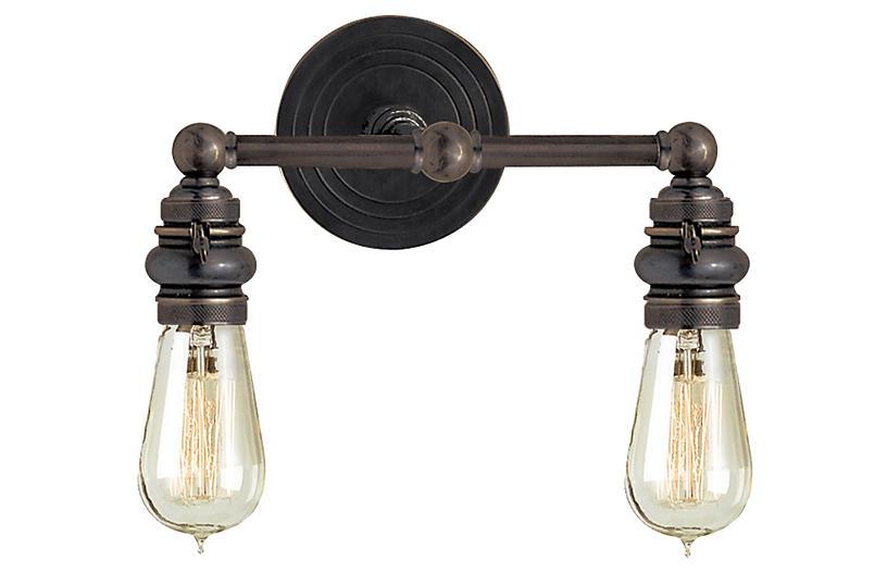 Boston Exposed 2-Light Sconce, Bronze