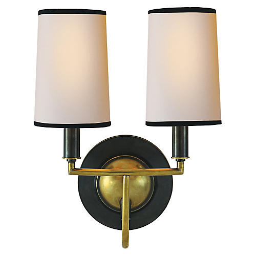 Elkins Double Sconce, Bronze