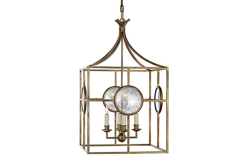 Gramercy Lantern, Gilded Iron