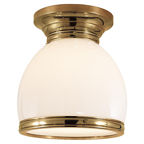 Edwardian Flush Mount, Antiqued Brass