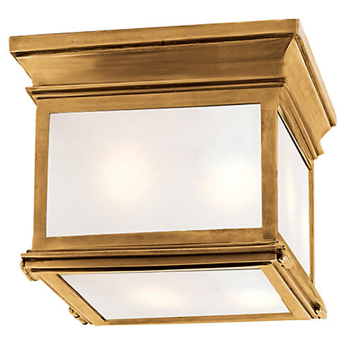 Club Square Flush Mount, Antiqued Brass