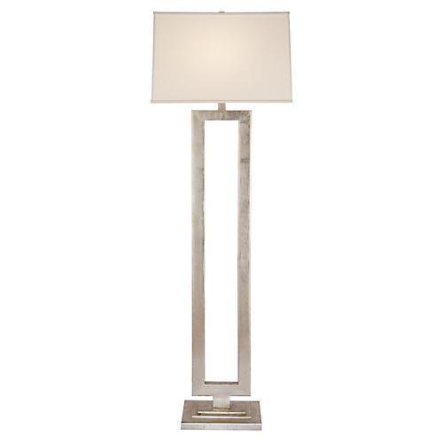 Modern Open Floor Lamp, Silver Leaf