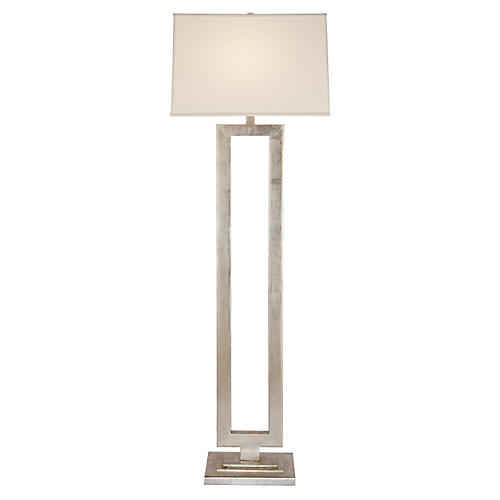 Modern Open Floor Lamp, Silver Leaf