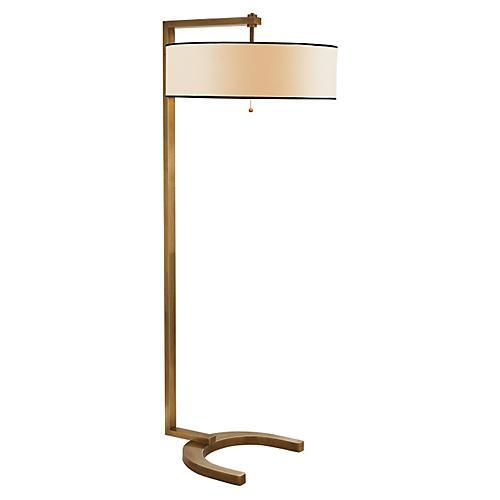 Hudson Floor Lamp, Antiqued Brass
