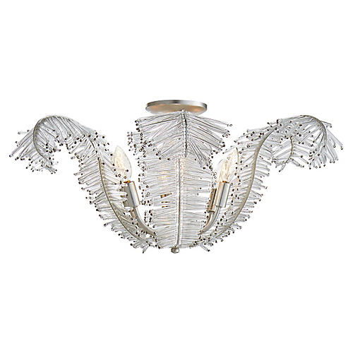 Calais Semi Flush Mount, Silver Leaf