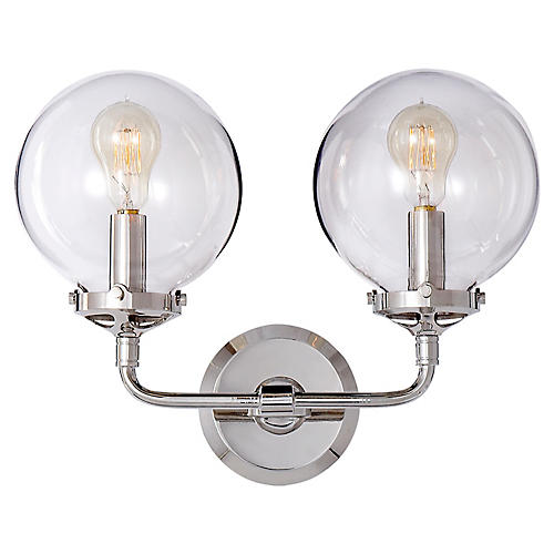Bistro 2-Light Sconce, Polished Nickel