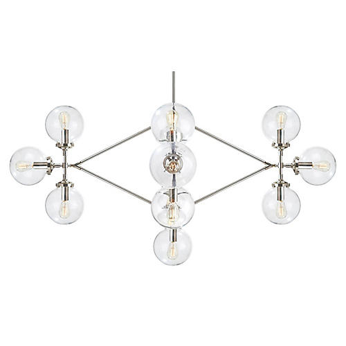 Bistro Chandelier, Polished Nickel