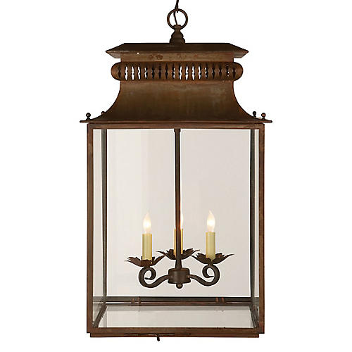 Honore Lantern, Antiqued Zinc