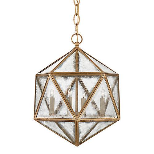 Zeno 4-Bulb Hedron Lantern, Gilded Iron