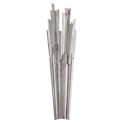 Claymore 2-Bulb Tall Sconce, Silver Leaf