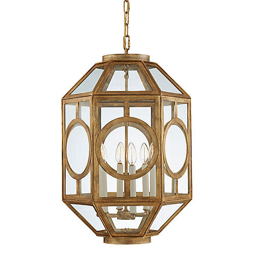 Chatsworth Six-Bulb Lantern, Gilded Iron
