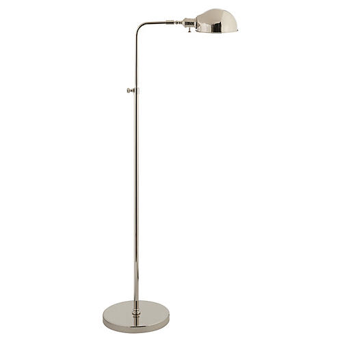 Old Pharmacy Floor Lamp, Polished Nickel