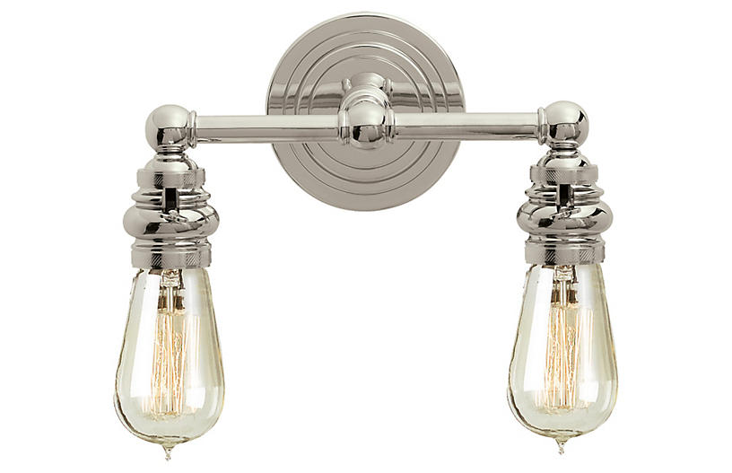 Boston Functional Double-Light Sconce, Nickel