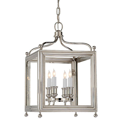 Greggory 4-Bulb Lantern, Polished Nickel